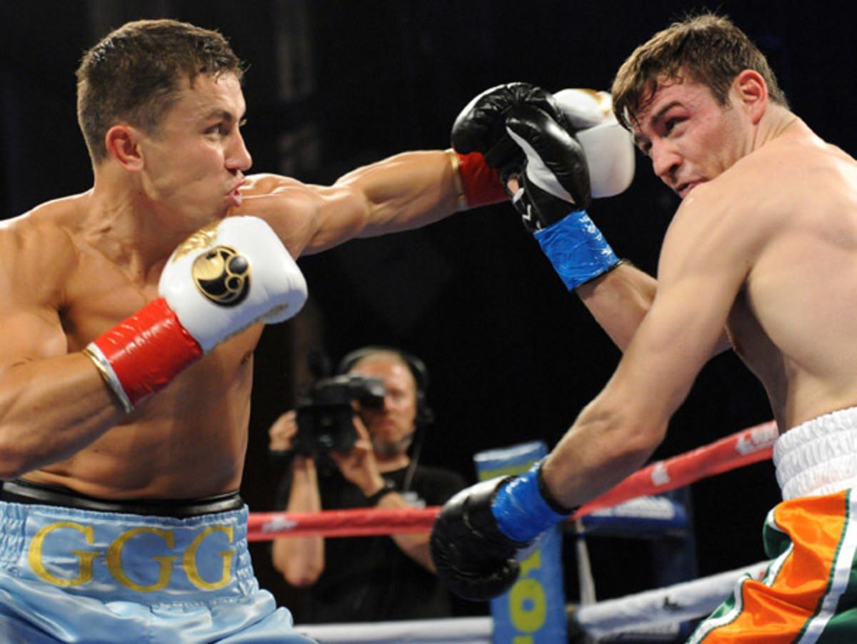 Gennady Golovkin dropped Matt Macklin in the third round with a vicious body shot. (Joe Camporeale/USA TODAY Sports)
