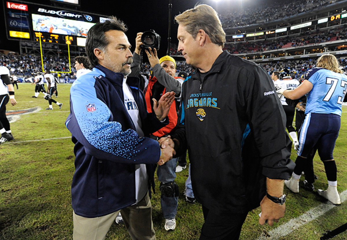 Jeff Fisher (left) and Jack Del Dio are two USC alums who might hear from Trojans AD Pat Haden in the near future.