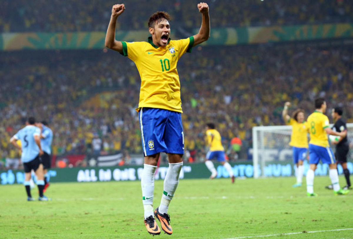 Neymar celebrates after defeating Uruguay in the Confederations Cup semifinal.