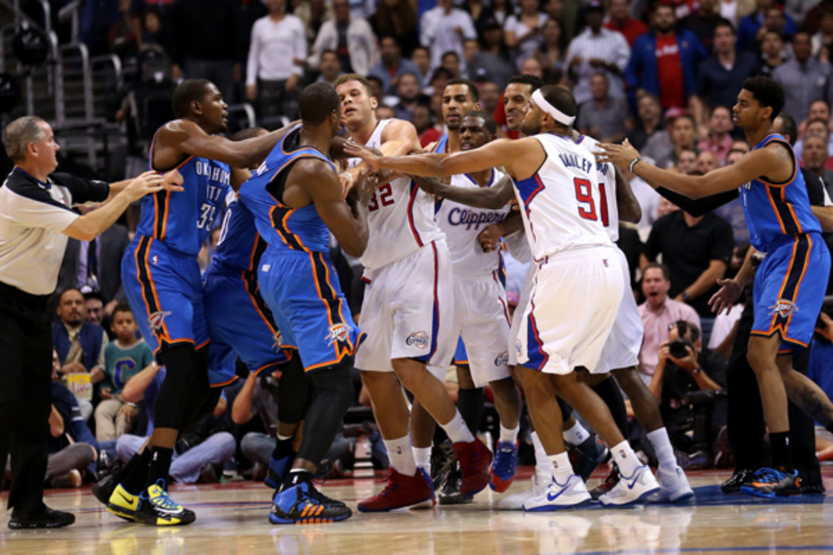 Serge Ibaka and Matt Barnes were ejected as a result of this skirmish. (Stephen Dunn/ Getty Images Sport)