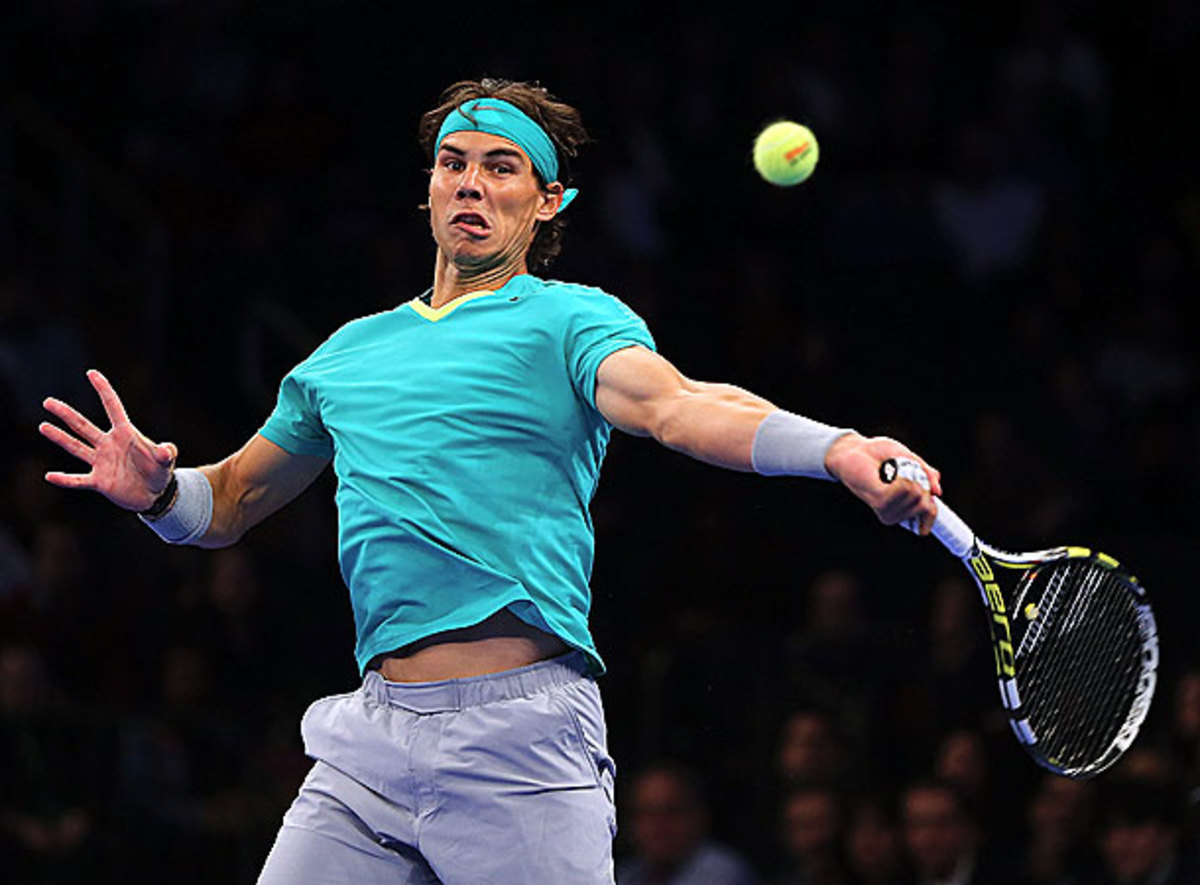 Rafael Nadal takes a swing at Madison Square Garden. (Photo by Elsa/Getty Images)
