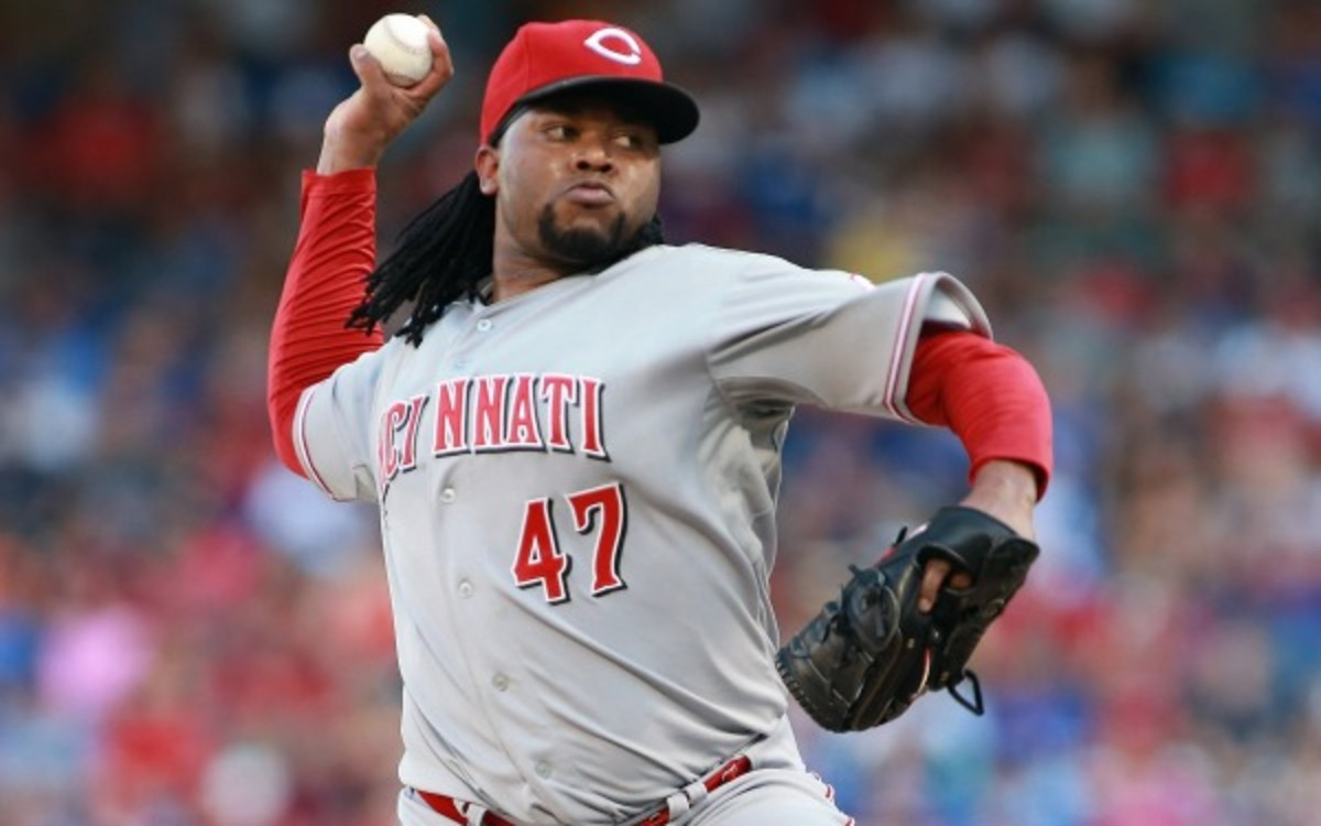 Johnny Cueto exited Friday's game against the Texas Rangers after one inning. (Photo by Rick Yeatts/Getty Images)