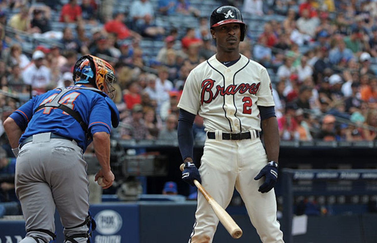 B.J. Upton has struck out in almost one-third of his plate appearances in his first season for the Braves.