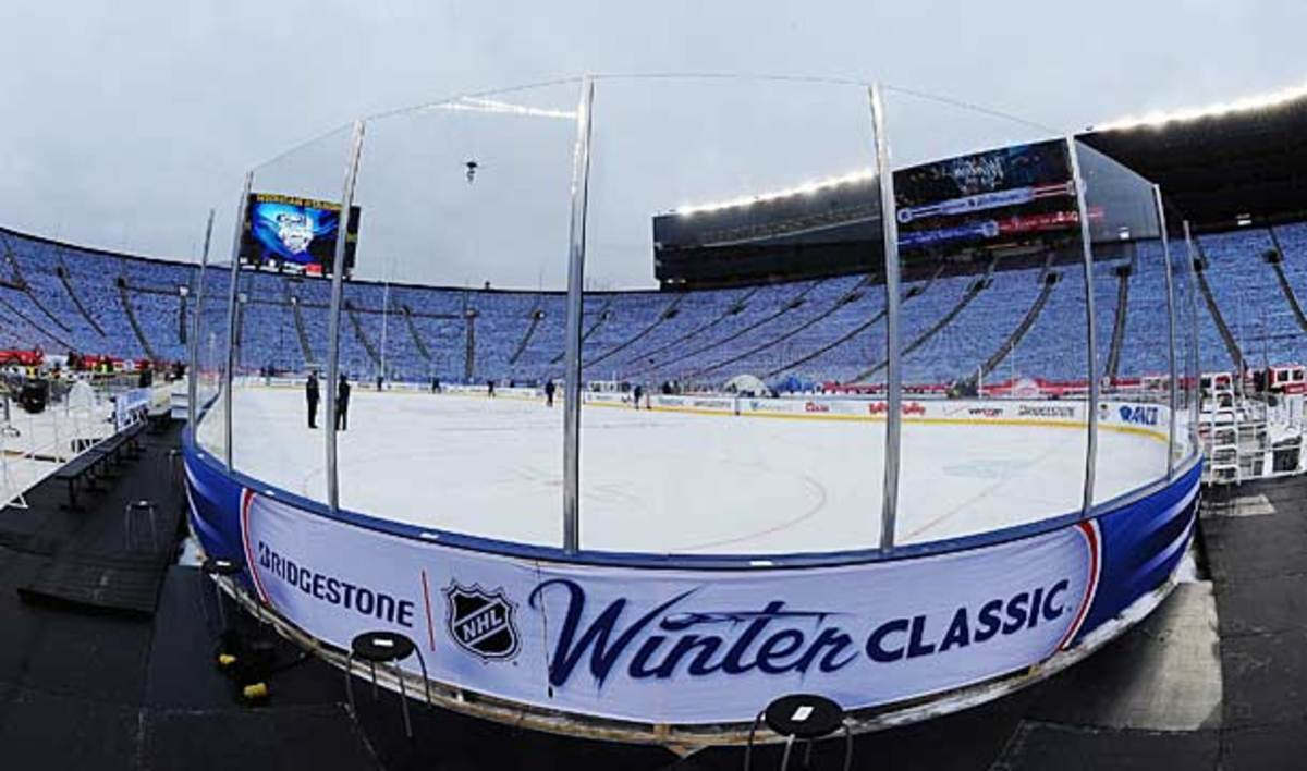Michigan Stadium sits ready for the 2014 NHL Winter Classic