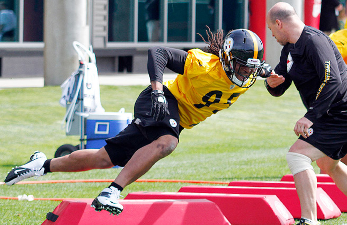 The Steelers are hoping Jarvis Jones (top), the No. 17 overall pick, can fill the void left by James Harrison.