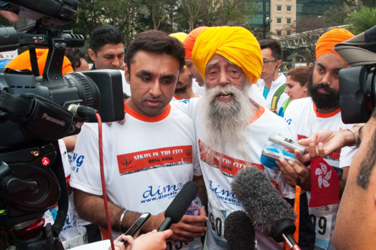 At 101, Singh was a popular figure at the marathon. (Getty Images)