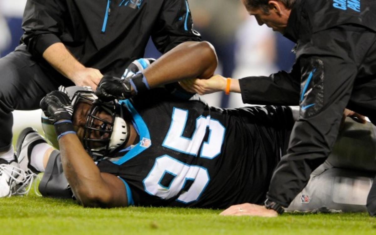Carolina Panthers defensive end Charles Johnson has 8.5 sacks this season.  (AP Photo/Mike McCarn)
