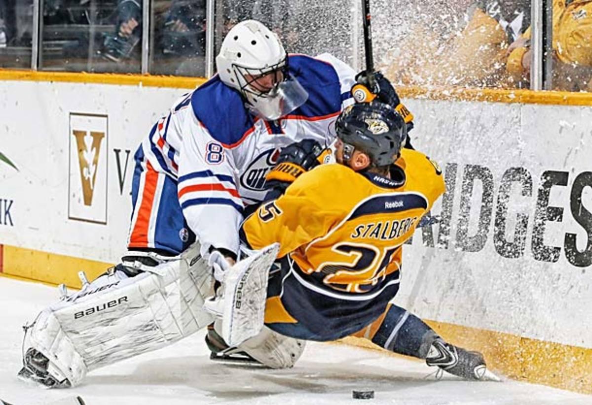 Ilya Bryzgalov shut out the Nashvillie Predators in his first start for the Edmonton Oilers.