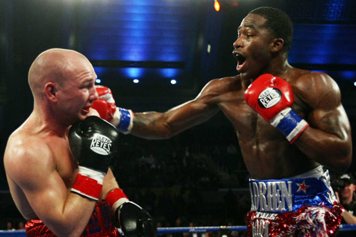 Adrien Broner (right) defeated Gavin Rees to retain the WBC lightweight belt in February. (AP)