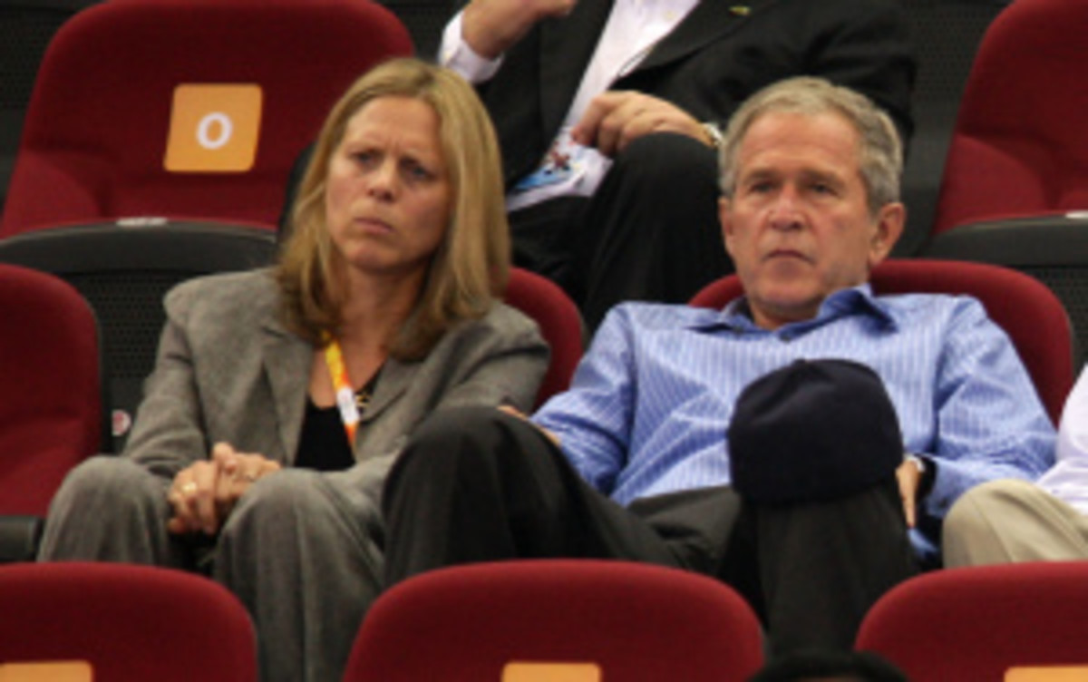 Newly appointed Big East Commissioner Val Ackerman pictured here with former U.S. President George W. Bush at a preliminary basketball game between the United States and Czech Republic at the 2008 Beijing Olympics. (Mark Dadswell/Getty Images)