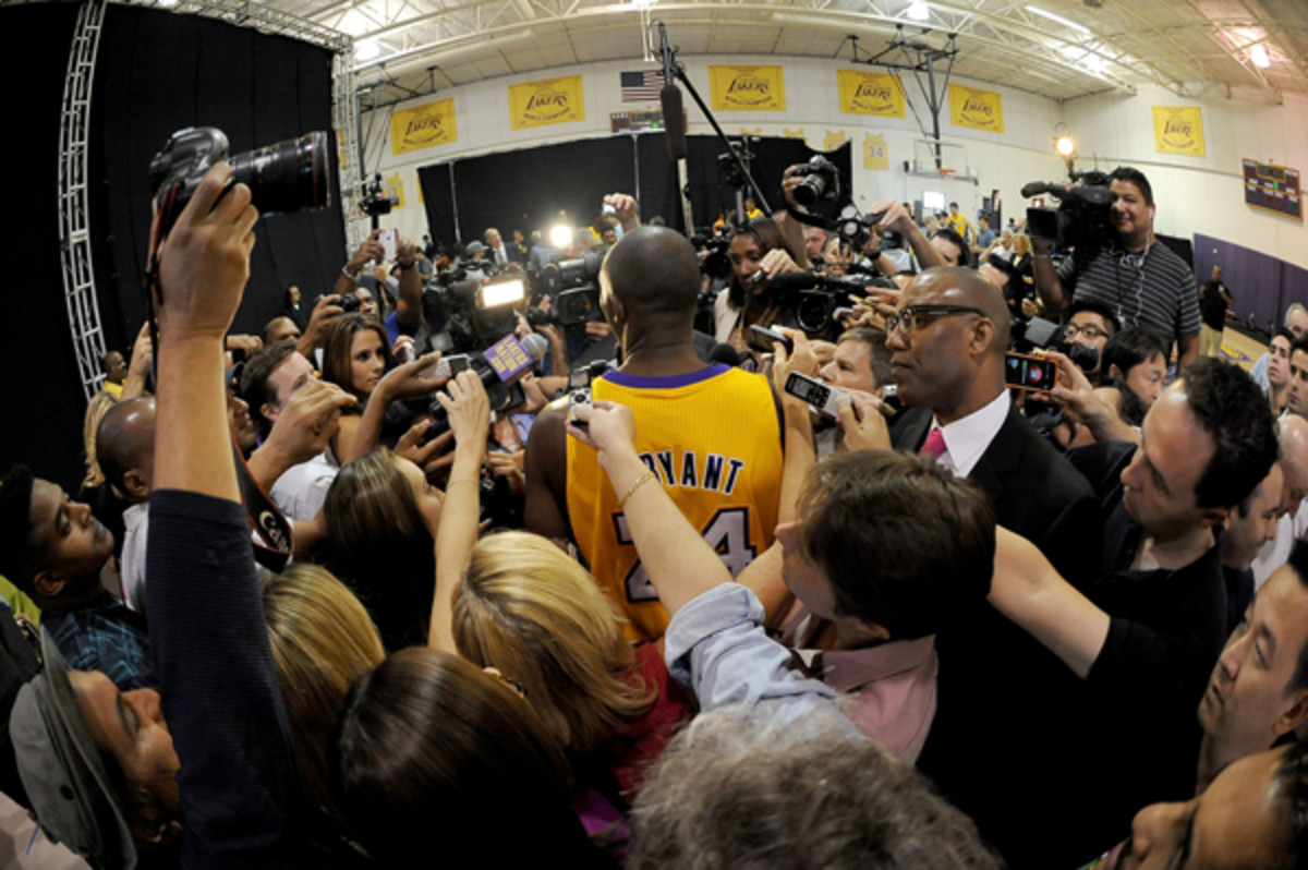Kobe Bryant remains the center of attention in Los Angeles. (Evan Gole/Getty Images)