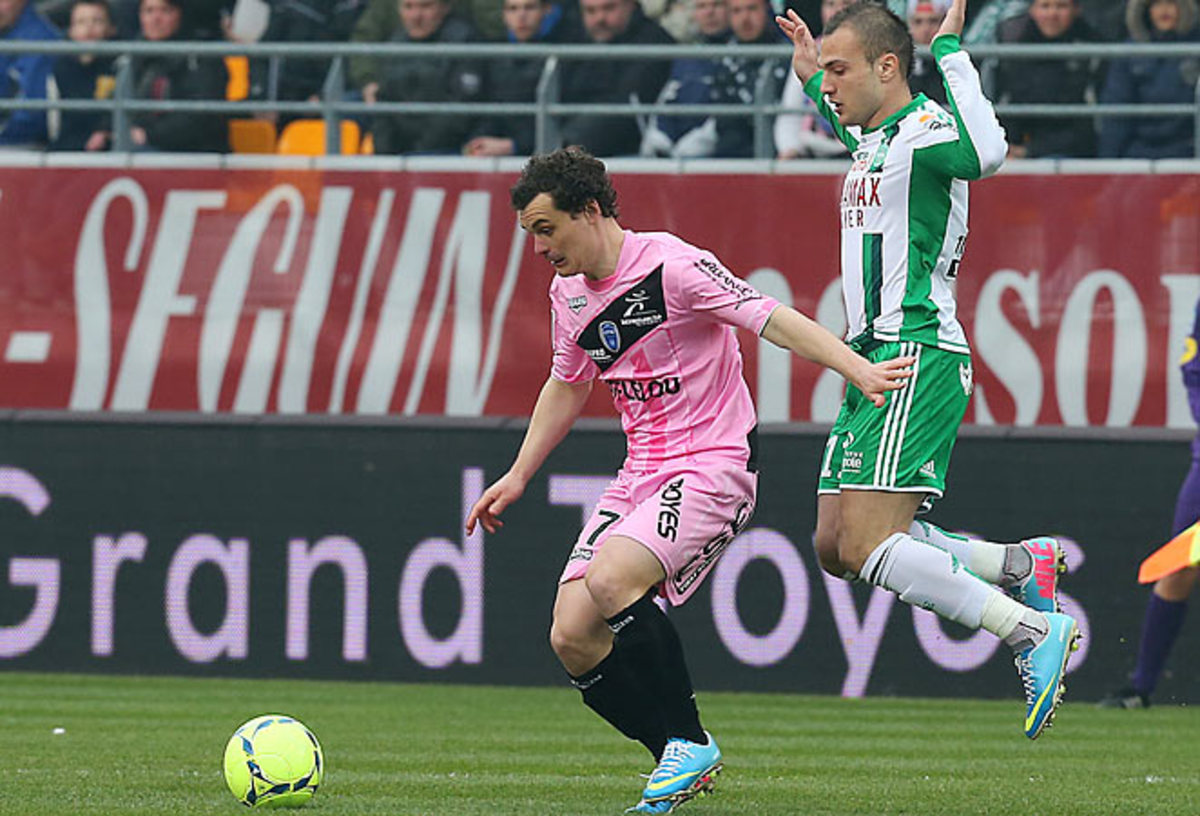 Troyes midfielder Julien Fausurrier scored one of his side's two goals in the draw with St. Etienne.