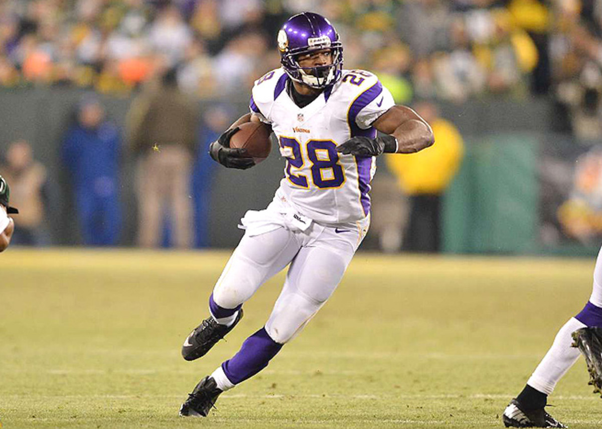 After just falling short of the rushing record last season, Adrian Peterson leads the rankings for 2013.