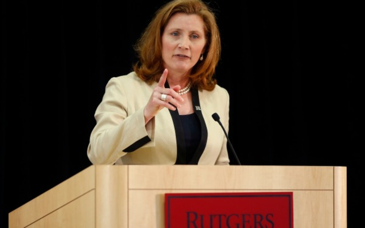 Rutgers athletic director Julie Hermann says he has no plans to resign despite abuse allegations from when she was a volleyball coach. (Rich Schultz/Getty Images)