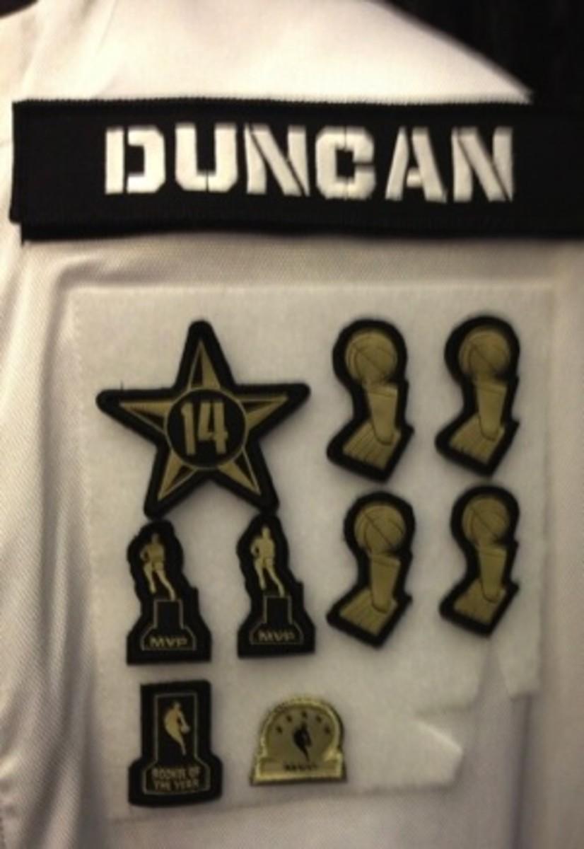 Tim Duncan's All-Star jacket patch. (@Blazersedge)