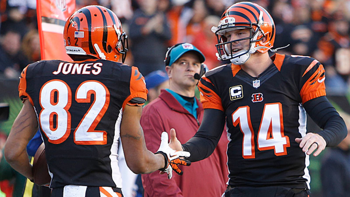 Andy Dalton has connected with second-year receiver Marvin Jones for six touchdowns in the past three games, including four in Sunday's 49-9 blowout of the Jets. (David Kohl/AP)
