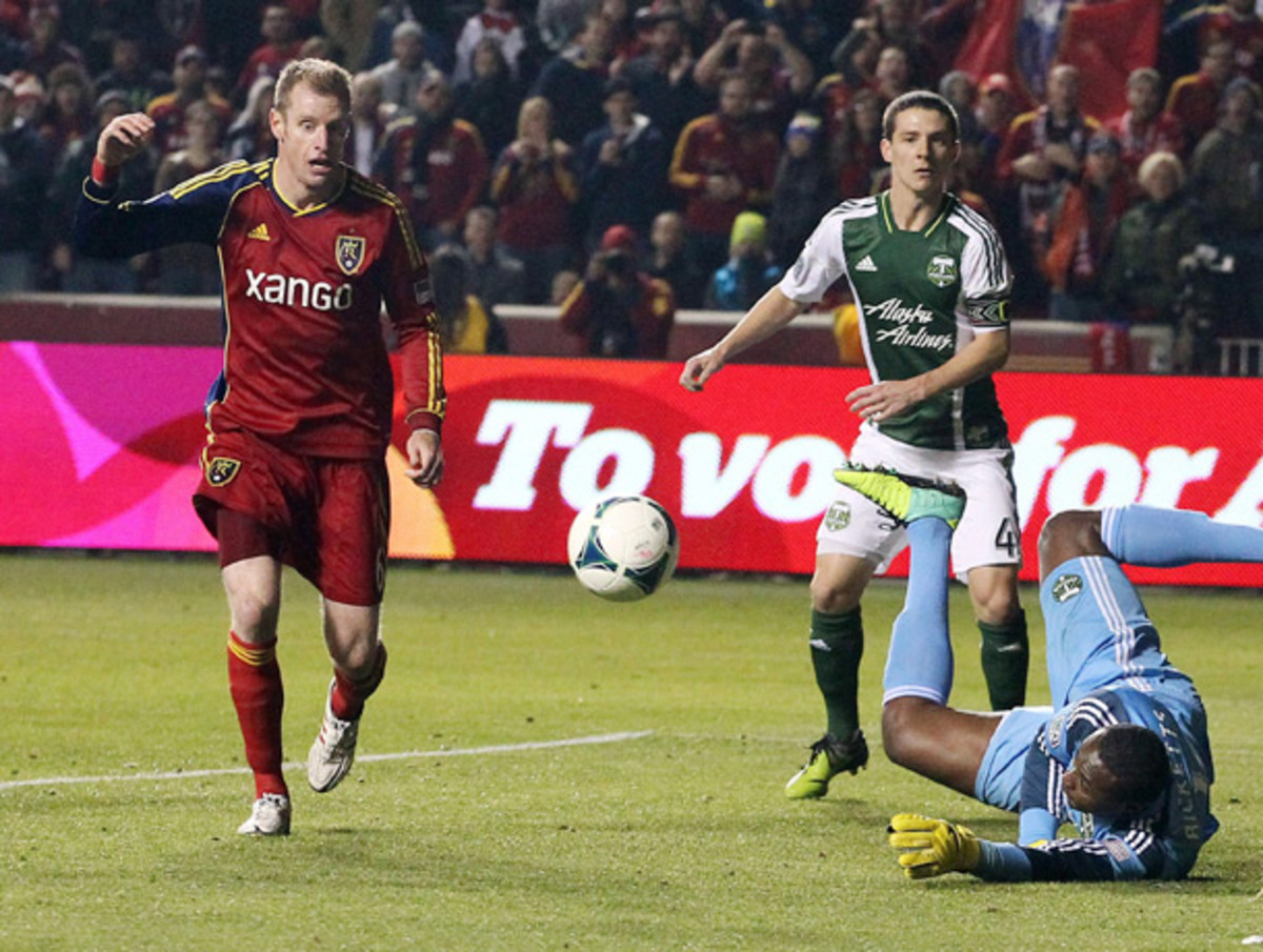 Nat Borchers (left) played all 90 minutes in Real Salt Lake's opening-leg victory over Portland. (Rick Bowmer/AP)