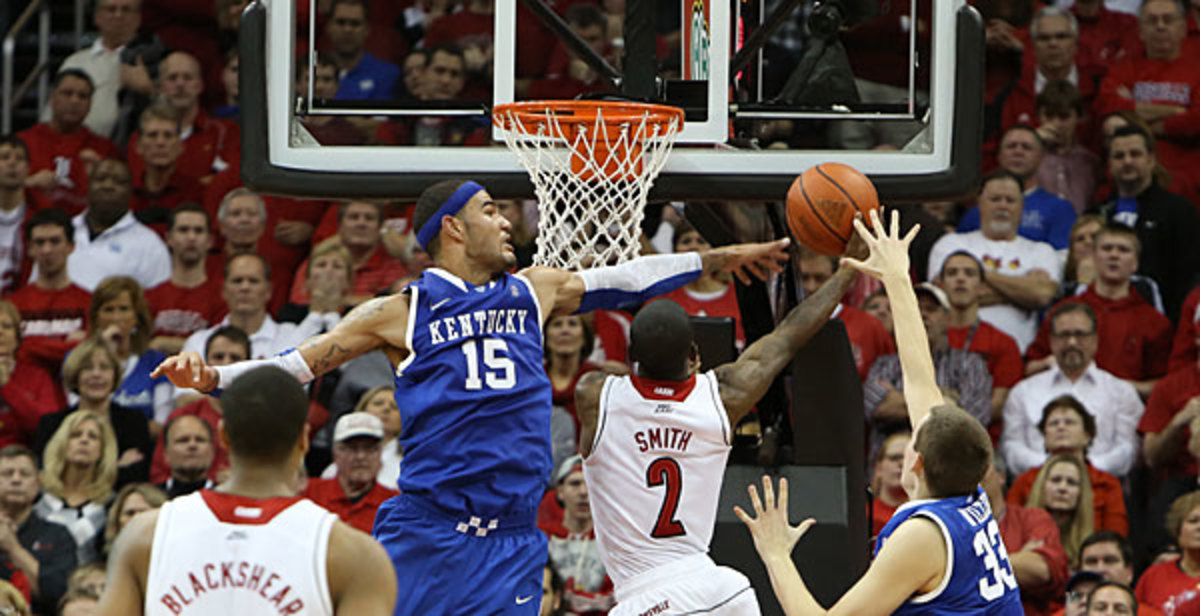 Willie Cauley-Stein and Kentucky will battle Russ Smith and Louisville in a meeting of the last two national champions on Dec. 28. (Icon SMI)