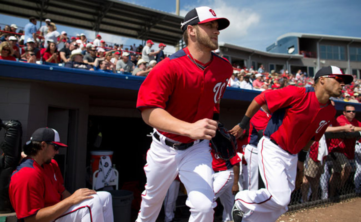 Bryce Harper injured his left hand after being jammed by a pitch during the Nationals'  game Friday.