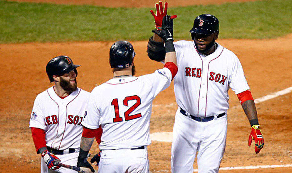 Ortiz (right) batted .309 for the Red Sox, with 30 home runs and 103 RBIs while playing mostly DH.