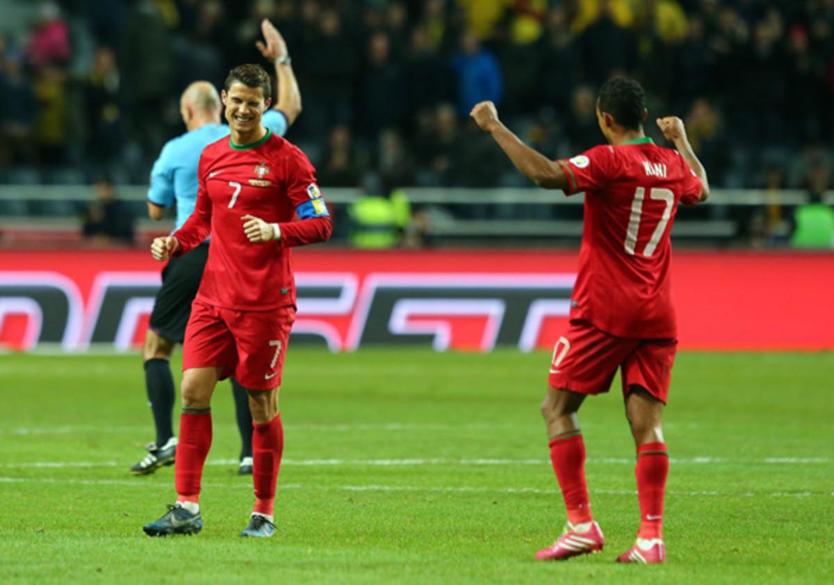 Portugal's Cristiano Ronaldo and Nani