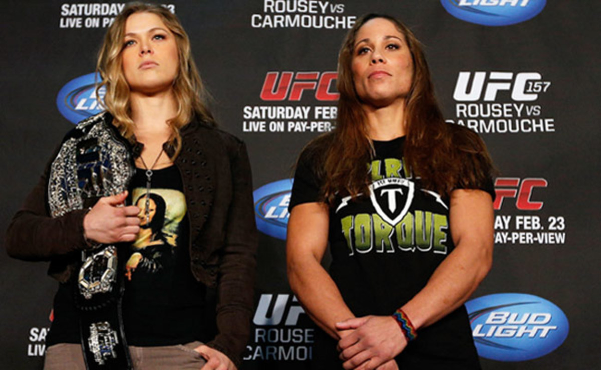 Ronda Rousey (left) has ended five of her six fights in the first minute thanks to submissions.