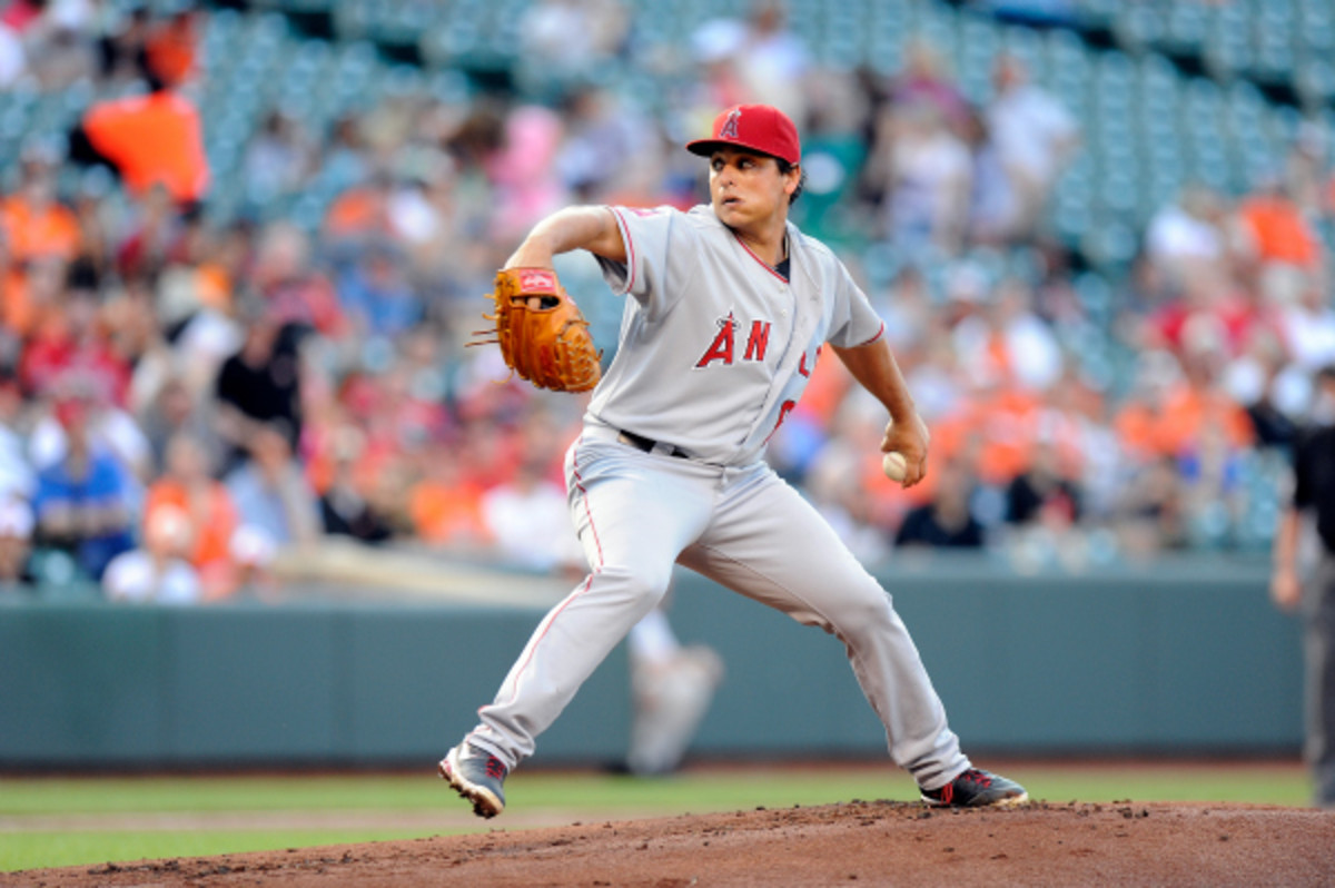 Angels Southpaw Jason Vargas will miss about two weeks for surgery to have a blood clot removed. (G. Flume/Getty Images)