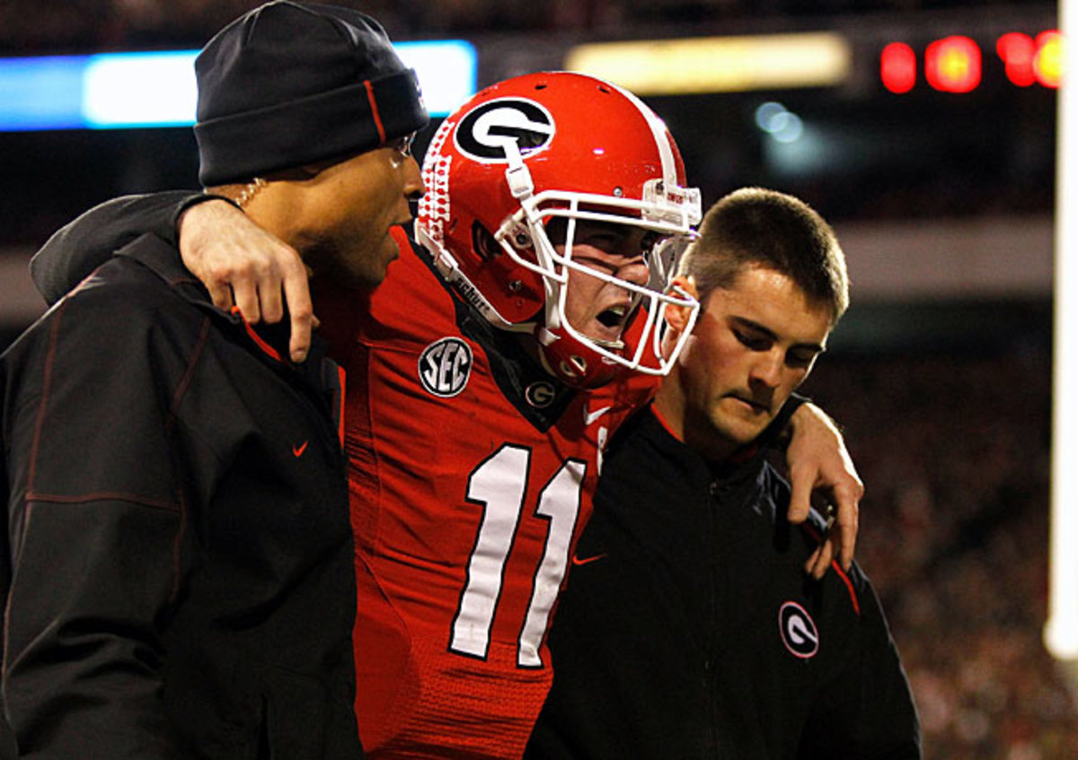Georgia quarterback Aaron Murray suffered a torn ACL in the second quarter of a victory over Kentucky.