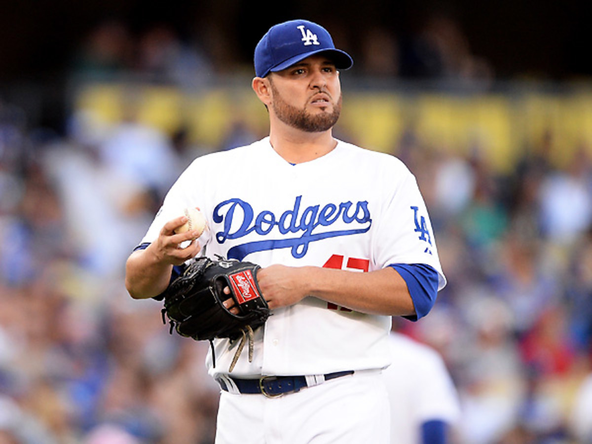 Ricky Nolasco pitched well for the Dodgers after being acquired from the Marlins midseason. (Harry How/Getty Images)