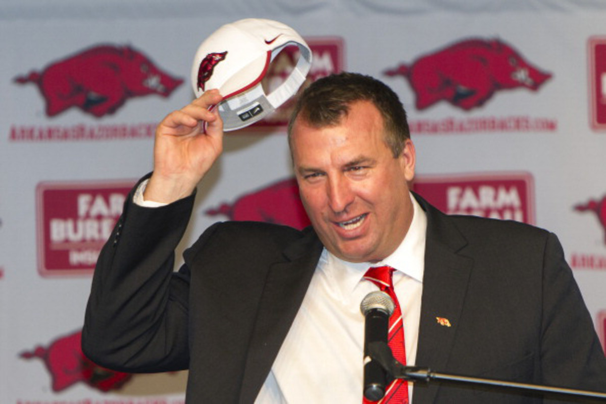 Bret Bielema has proven to be a social media revelation since taking over at Arkansas. (Wesley Hitt/Getty Images)