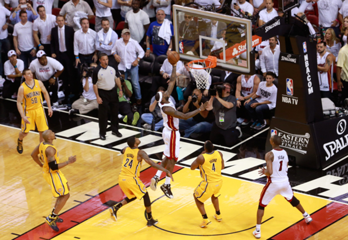 LeBron James coasts in for the game-winner. (Chris Trotman/Getty Images)