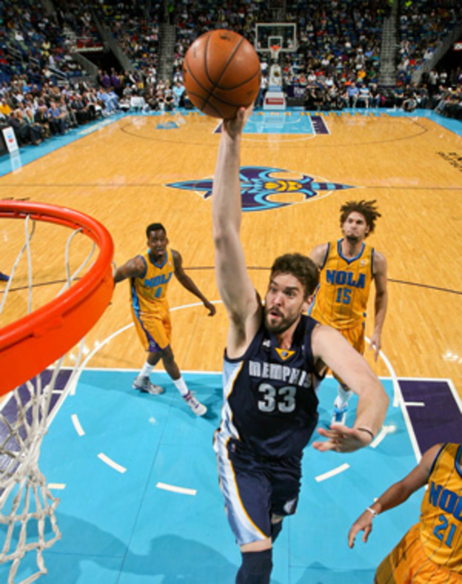 Marc Gasol is out indefinitely with an abdominal injury. (Layne Murdoch/Getty Images)