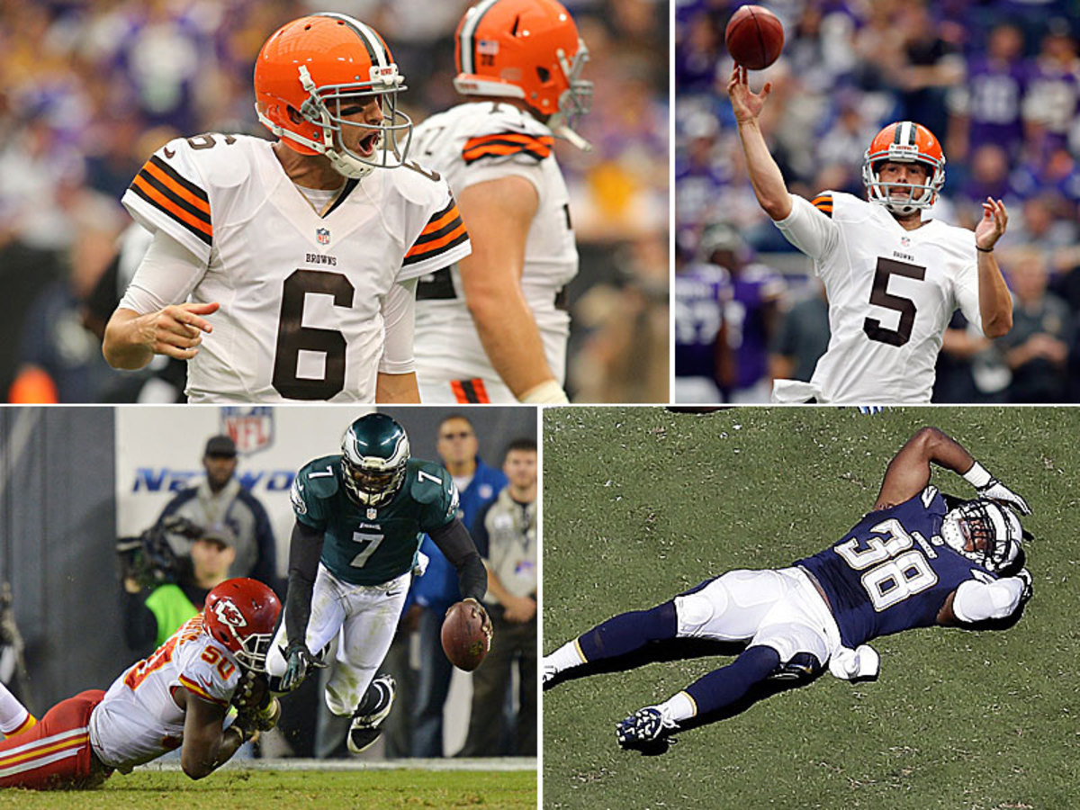 The Browns got an encouraging performance out of Brian Hoyer (top left), along with some trickeration in the form of a Spencer Lanning TD pass on a fake field goal (top right). On Thursday, Justin Houston added 4.5 sacks to up his league-leading total to 7.5 (bottom left), while Marcus Gilchrist Sunday dropped an interception on the TItans' final drive that allowed them to continue down the field for the eventual game-winning touchdown.