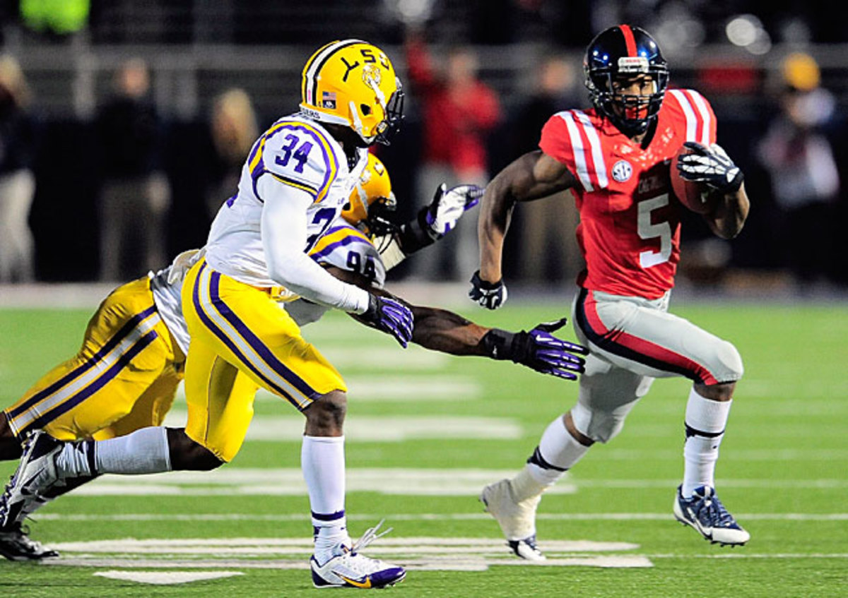 Running back I'Tavius Mathers (5) and Ole Miss vaulted up this week's rankings after knocking off LSU.