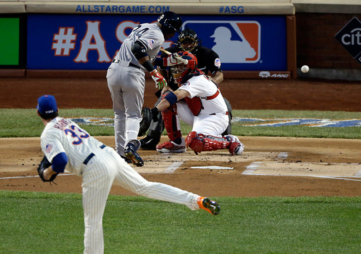 Robinson Cano left in the first inning after taking this pitch from Matt Harvey off of his knee.