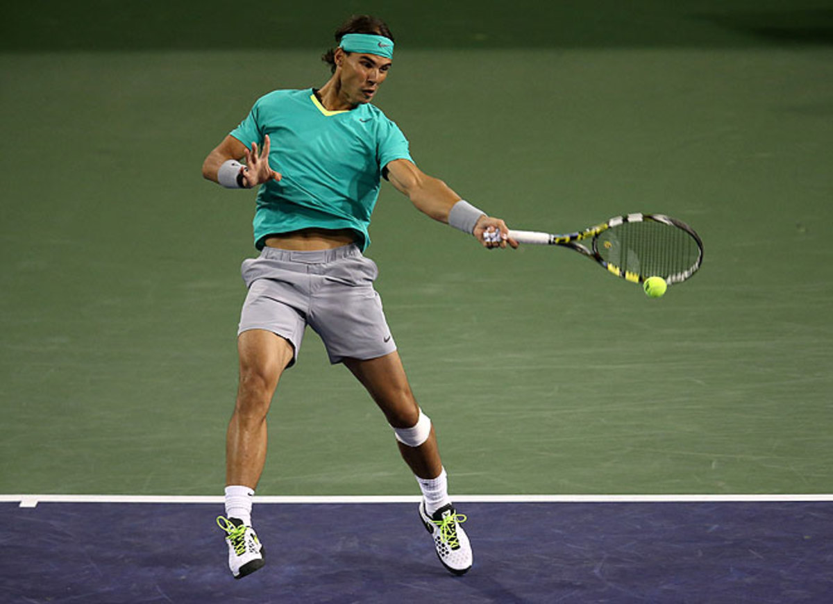 Rafael Nadal beat unseeded American Ryan Harrison for his first victory on hard-court in almost a year.