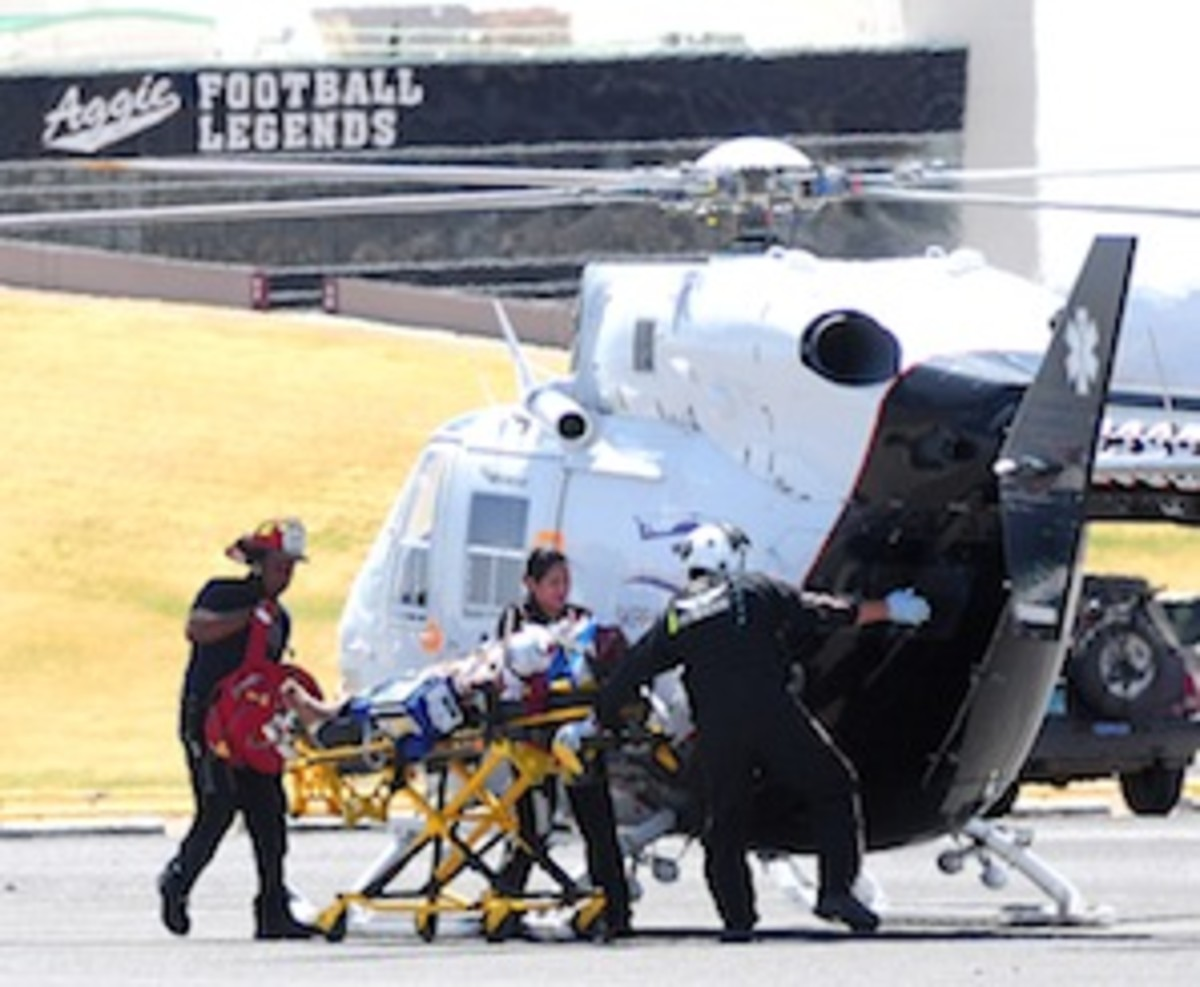 New Mexico State cornerback Miles Washington was airlifted out of practice Saturday after sustaining a spinal cord injury. (AP Photo/Las Cruces Sun-News, Robin Zielinski)