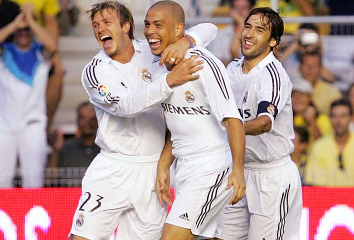David Beckham (left) and Ronaldo (center) were Real Madrid teammates from 2003 to 2007.
