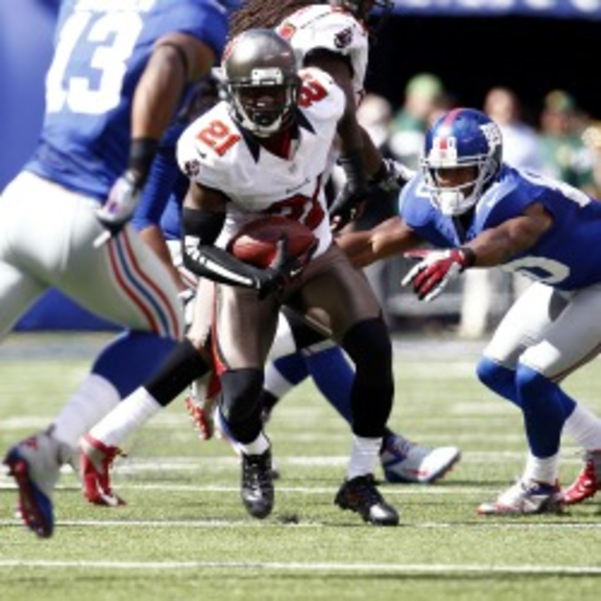 Bucs corner Eric Wright is reportedly on the trading block. (Jeff Zelevansky/Getty Images)