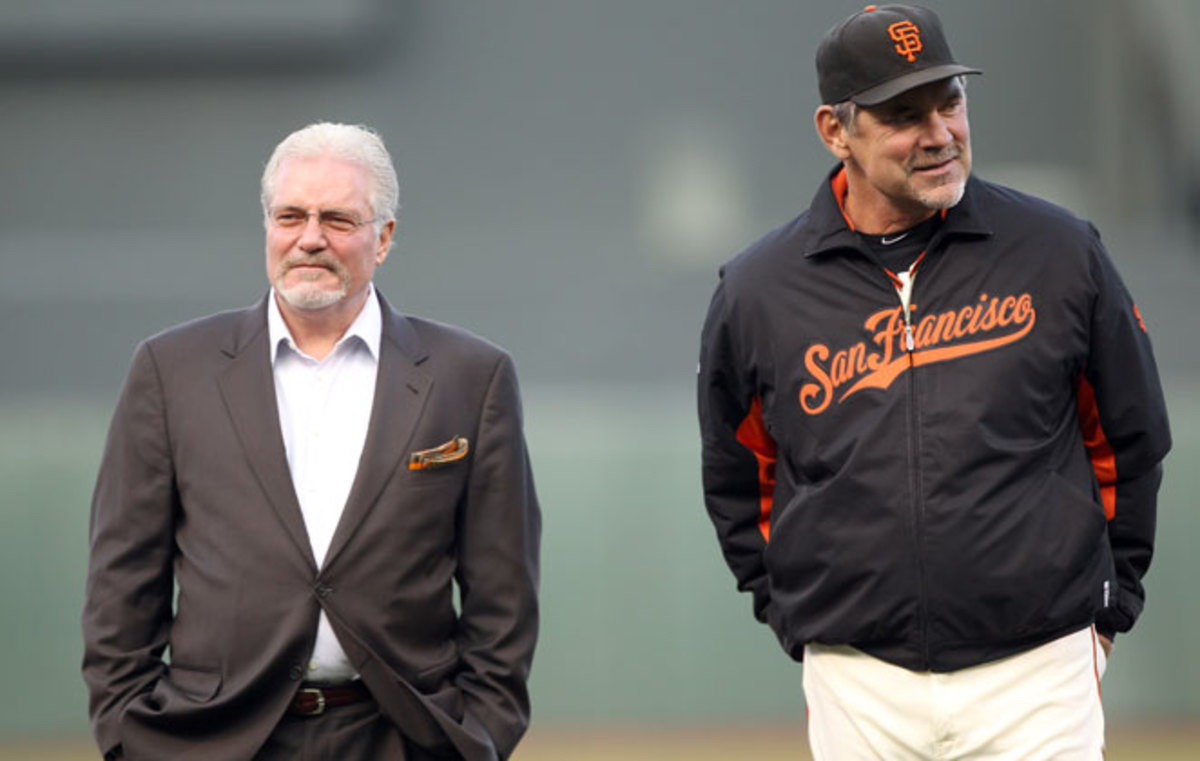 The Giants gave Brian Sabean (left) and Bruce Bochy contract extensions through 2016.