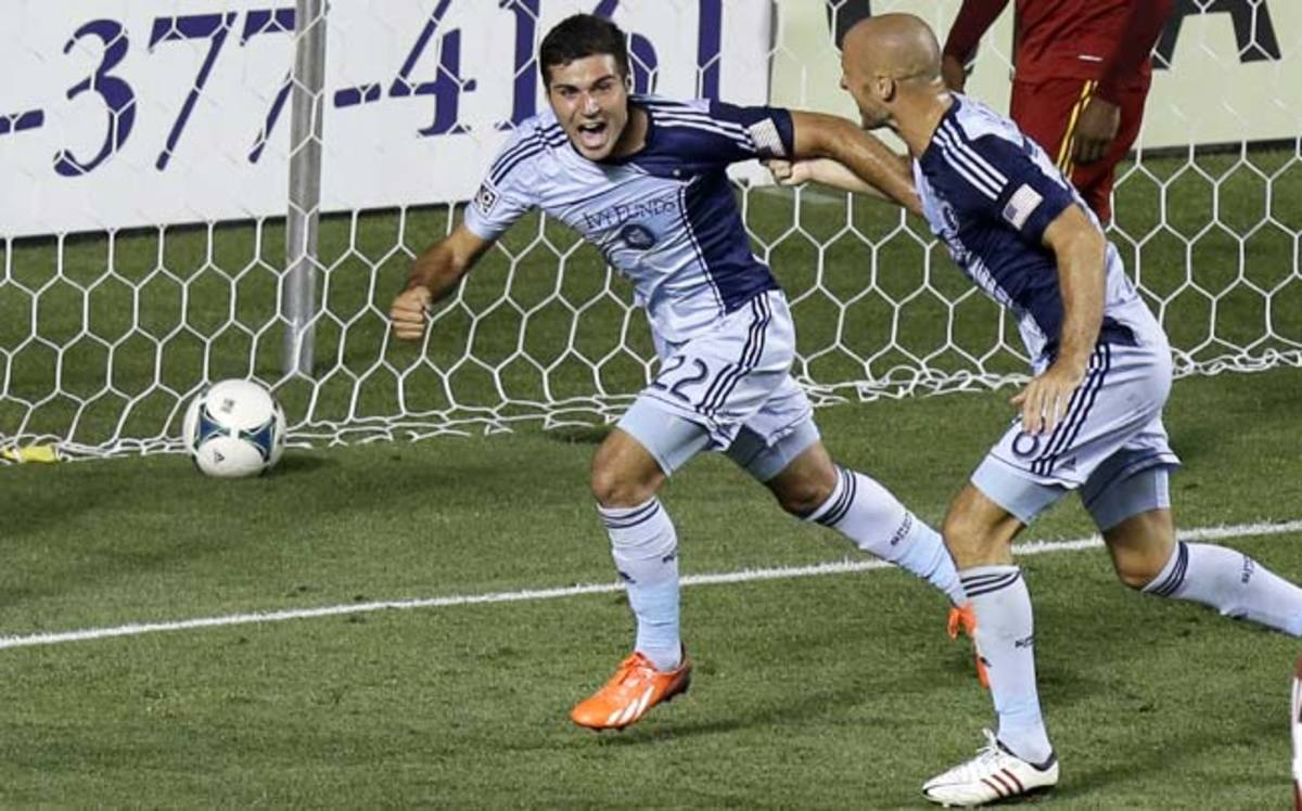 Sporting Kansas City's Soony Saad celebrates after scoring against Real Salt Lake in the second half.