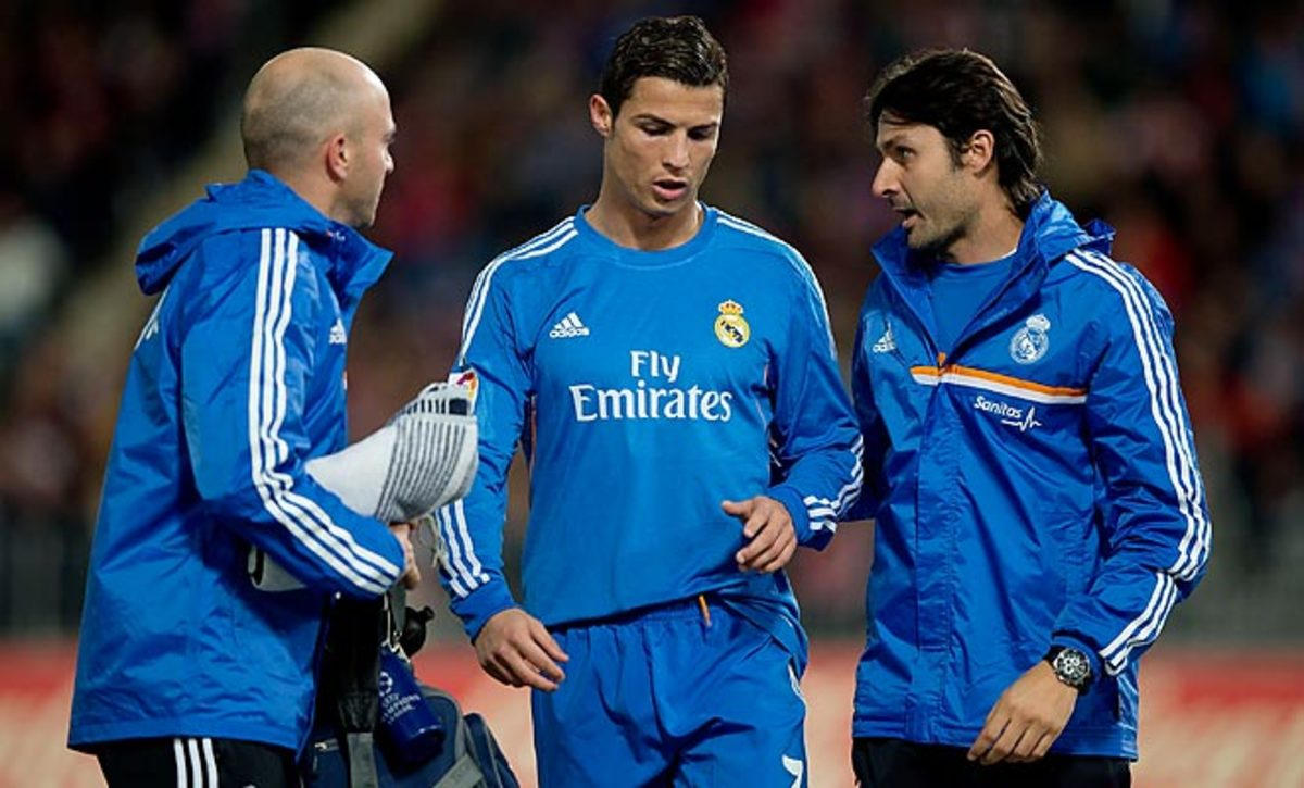 Cristiano Ronaldo left Real Madrid's game against Almeria with an injury in the second half.
