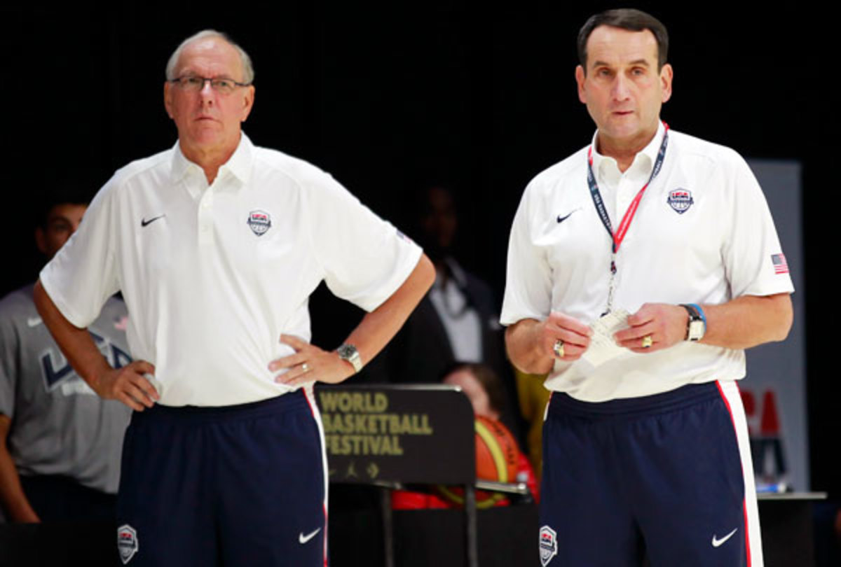 Jim Boeheim and Mike Krzyzewski will be in the same conference starting next season. (Geoff Burke/US Presswire)