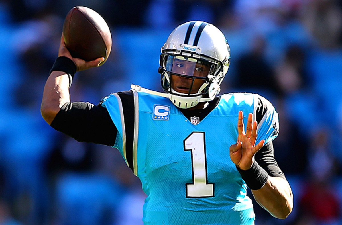Cam Newton threw for a touchdown and ran for a touchdown against the Falcons in Week 9.