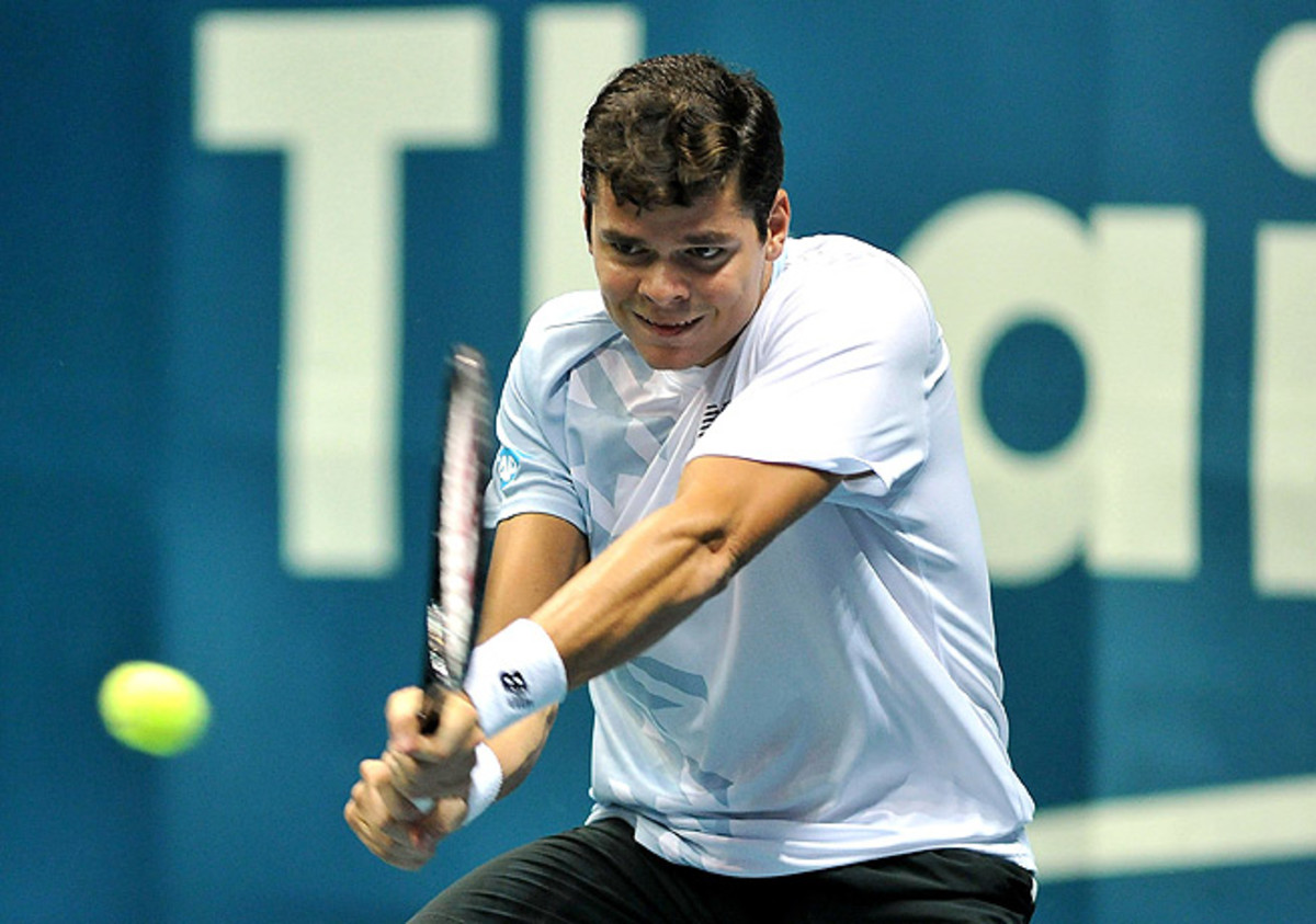Milos Raonic needed only a little more than an hour to upset top-seeded Tomas Berdych in Bangkok.