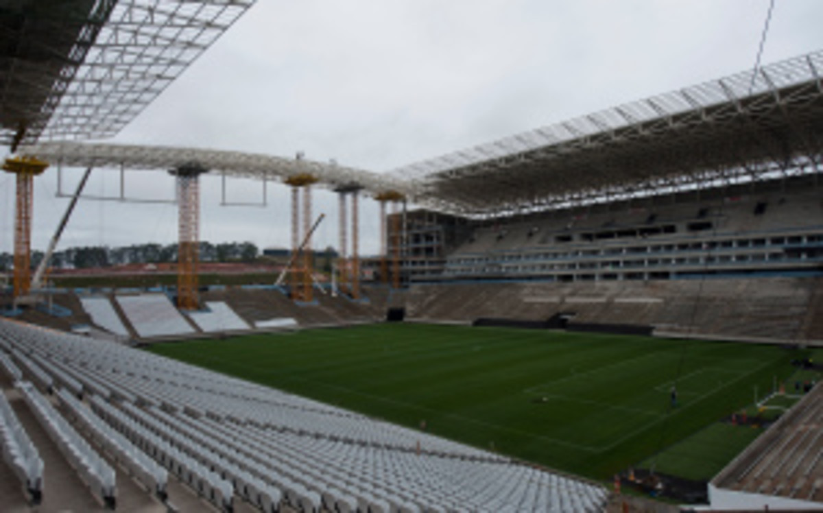 Construction of the Itaquerao Stadium was 94 percent complete at the time of the collapse. (Nelson Almeida/Getty Images)