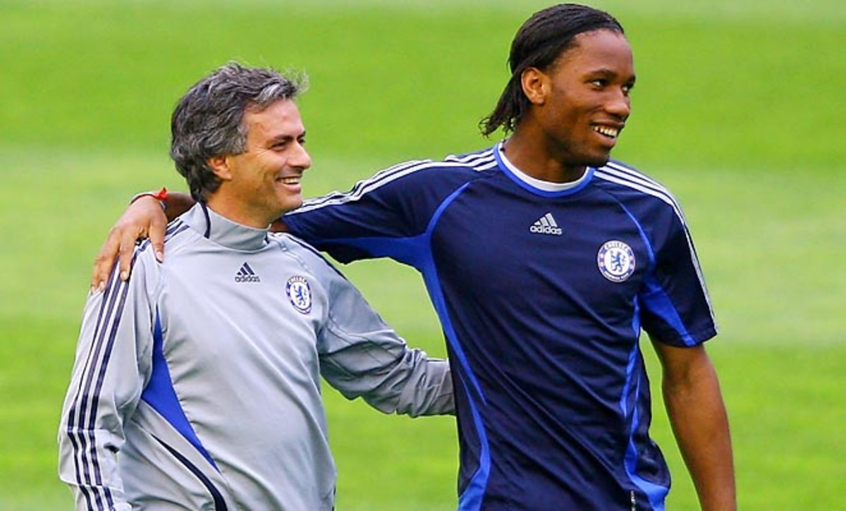 Jose Mourinho (left) coached Didier Drogba from 2004 to 2007 at Chelsea.