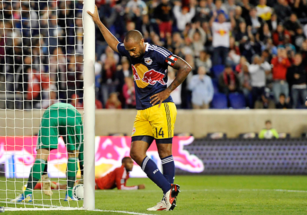 Thierry Henry's understated goal celebration has found more than a few fans on the web.