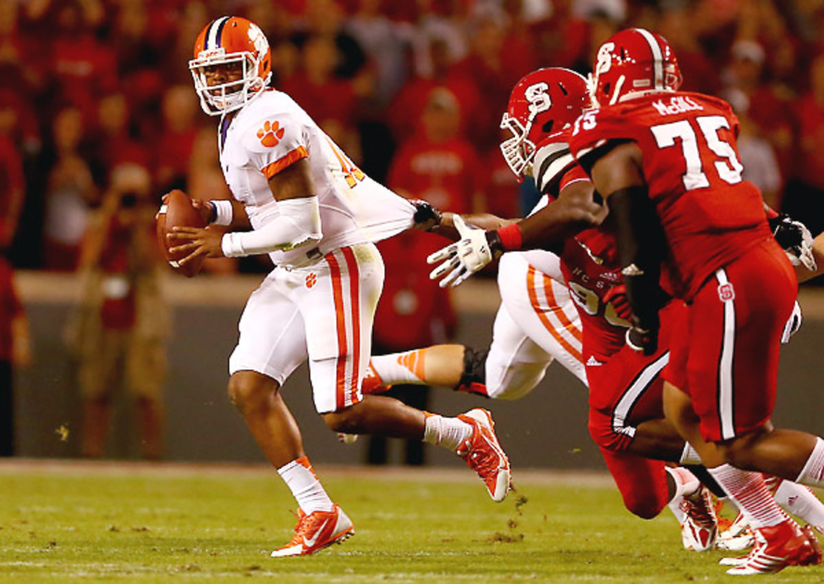 Against a penetrating NC State defensive line, Tajh Boyd managed to rally Clemson with two late touchdown passes.