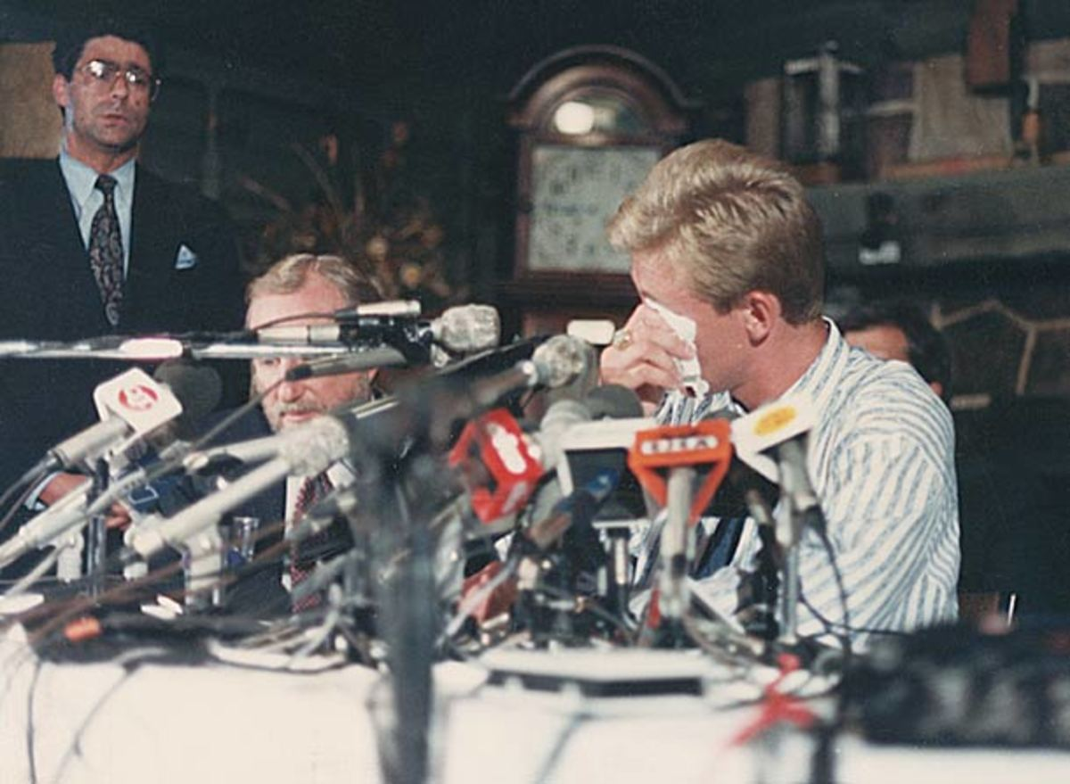 Wayne Gretzky at the Aug. 9, 1988 press conference announcing his trade.